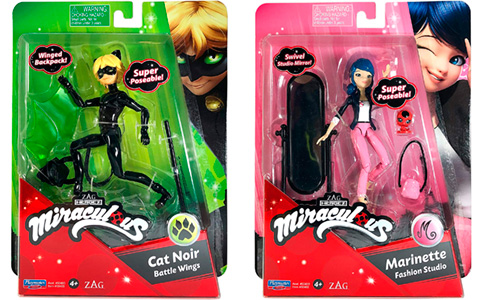 Miraculous Ladybug Playmates articulated doll figures of Ladybug, Marinette, Cat Noir and Rena Rouge