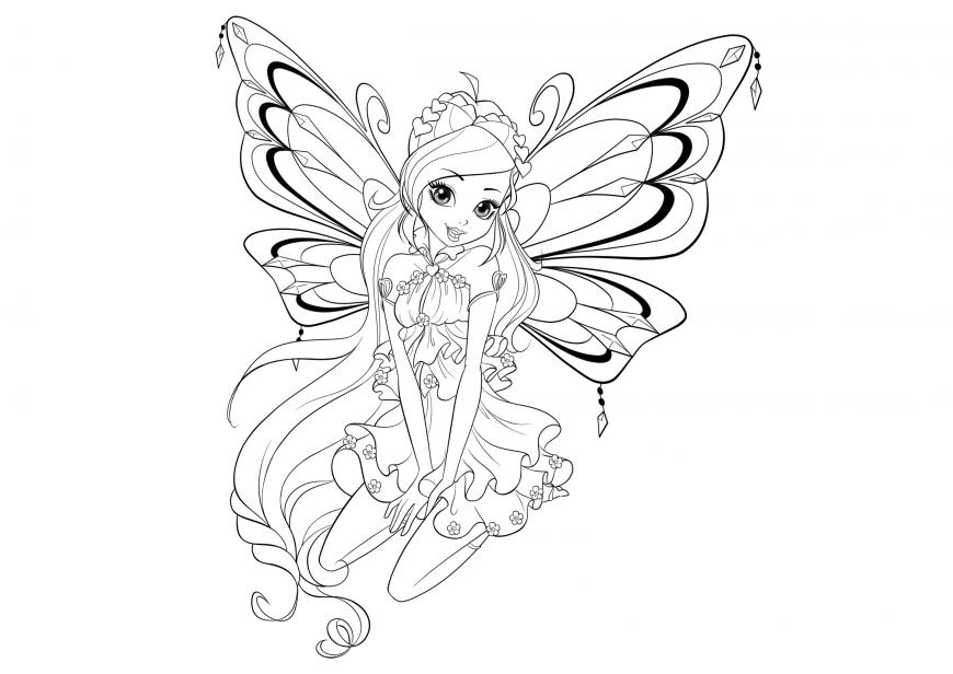 Winx Club season 8 enchantix Bloom coloring page