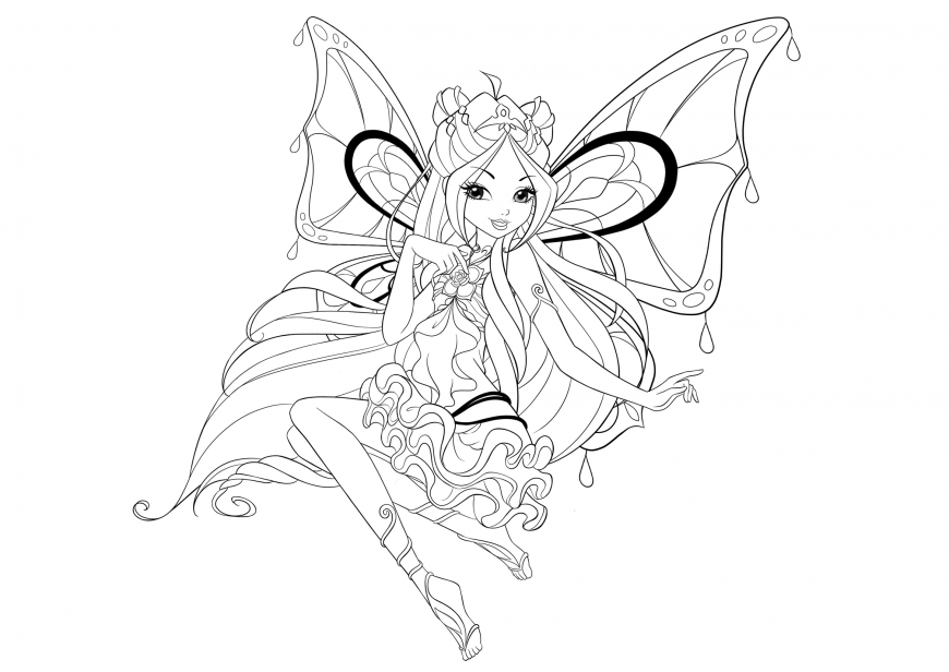 Winx Club season 8 enchantix Flora coloring page