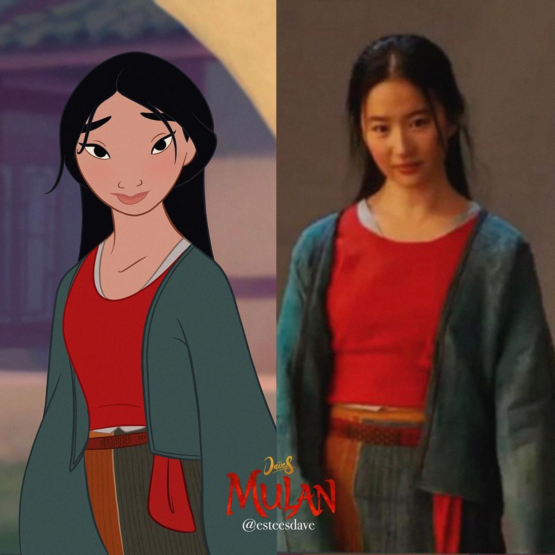 Mulan From Animated Movie In The Outfits Of Mulan 2020 Live Action Adaptation Youloveit Com