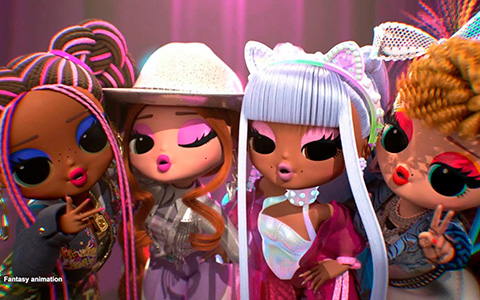 LOL OMG Remix dolls animated versions of Kitty K, Honeyliciou, Pop B.B. and Lonestar