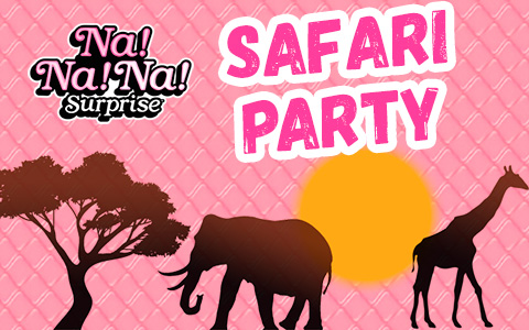 Na Na Na Surprise Safari Party dolls: Giraffe Josie, Zebra Molly, Gorilla Kylie, Crocodile Ashley, Panther Maya, Toucan Benjamin