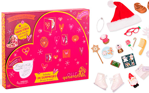 "Our Generation Advent Calendar with Christmas accessories for 18"" dolls"