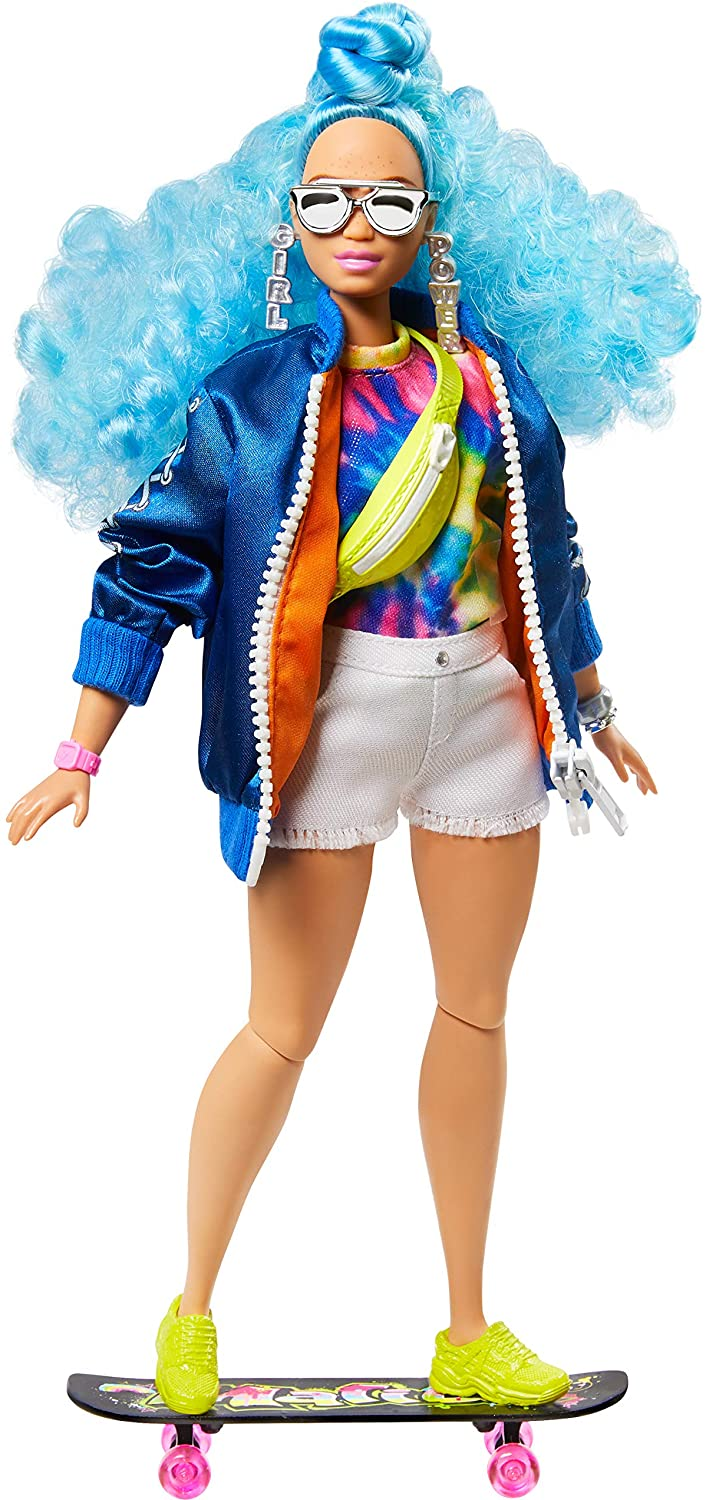 Barbie Extra Doll №4, Curvy, in Zippered Bomber Jacket with 2 Pet Kittens