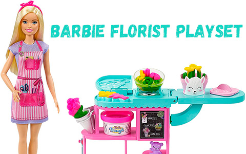 Barbie Florist Playsets with doll, flower-making station, doughs and accessories