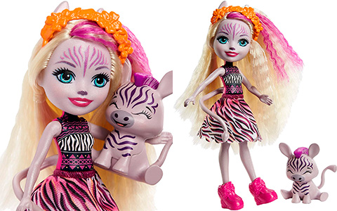 Enchantimals Zadie Zebra doll with pet named Ref