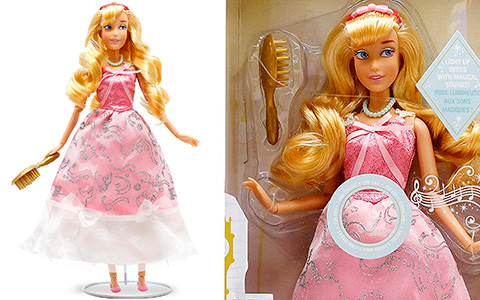 Disney Store Light-Up Dress Cinderella doll in pink made by mice and birds dress