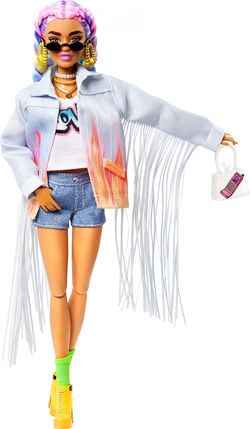 Barbie Extra Doll №5 in Long-Fringe Denim Jacket with Pet Puppy with  Rainbow Braids