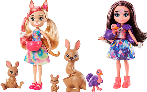 New Enchantimals Sunny Savanna dolls Family Toy Sets: Kamilla Kangaroo, Esmeralda Elephant and Ofelia Ostrich