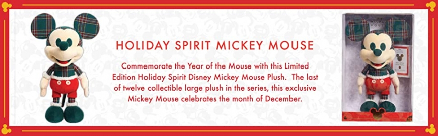 Disney Year of the Mouse Collector Plush Holiday Spirit Mickey Mouse month of December