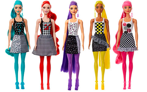 New Barbie Color Reveal Monochrom dolls and pets