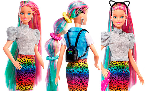 Barbie Rainbow Cheetah Hair doll