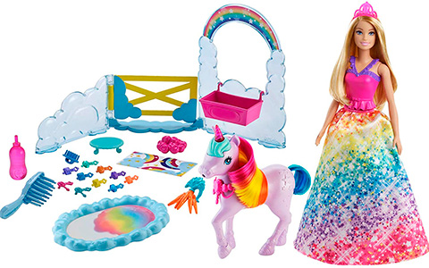 Barbie Dreamtopia doll with unicorn, Nurturing Playset