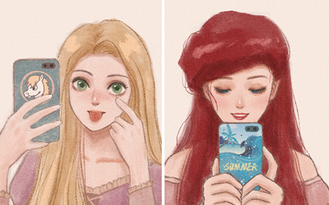 Disney Princess phone selfie art