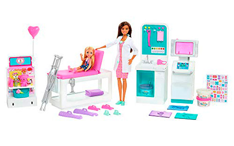 Barbie Fast Cast Clinic playset with X-ray machine, bandage maker and doll