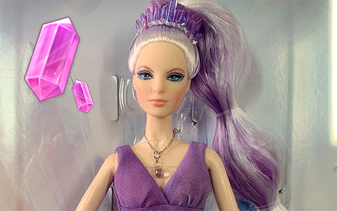 Barbie Crystal Fantasy Amethyst Collector doll with Genuine Amethyst Stone necklace