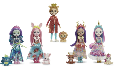 Royal Enchantimals 5-pack doll set: Patter Peacock, Danessa Deer, Bree Bunny, Ambrose Unicorn and Alessandro Lion