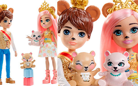 Royal Enchantimals Braylee Bear and Bannon Bear dolls