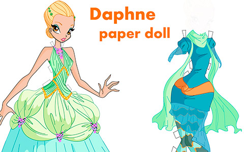 Winx Club Daphne paper doll with clothes and hairstyles