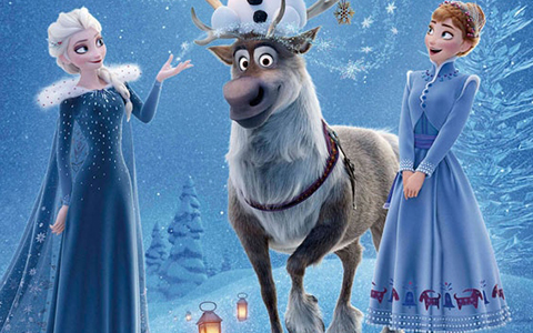 New poster of Olaf's Frozen Adventure with Elsa and Anna