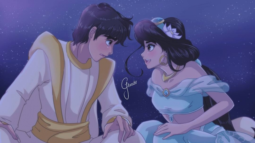 Aladdin and Princess Jasmine in anime style