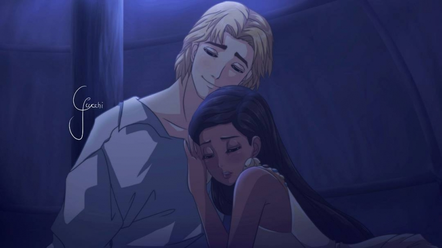 John Smith and Pocahontas in anime style