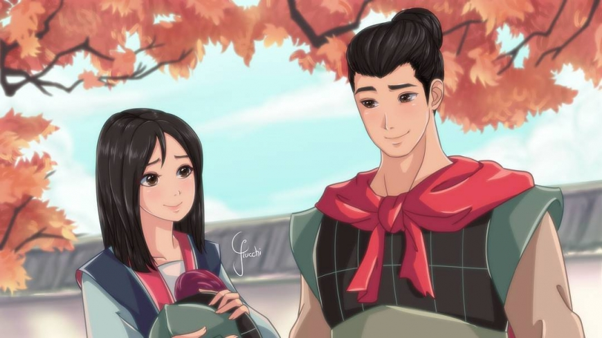 Mulan and Li Shang in anime style