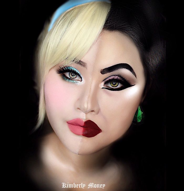 Two in one: Villains and Disney Princess makeup Cinderella and  Lady Tremaine