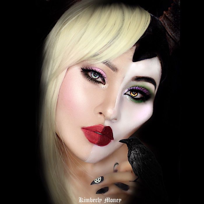 Two in one: Villains and Disney Princess makeup Aurora and Maleficent