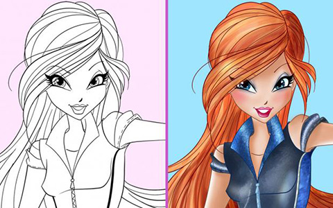 World of Winx: Coloring poster with spy Winx