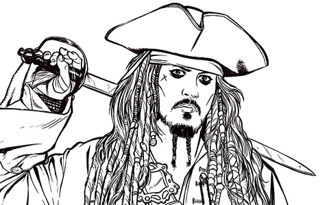 Pirates of the Caribbean coloring pages, including POC 5