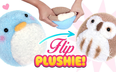 How to make cute REVERSIBLE PLUSHIE toy: Easy DIY