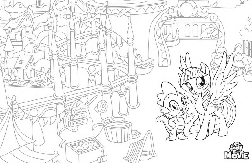 My Little Pony The Movie coloring page with Princess Twilight Sparkle and Spyke