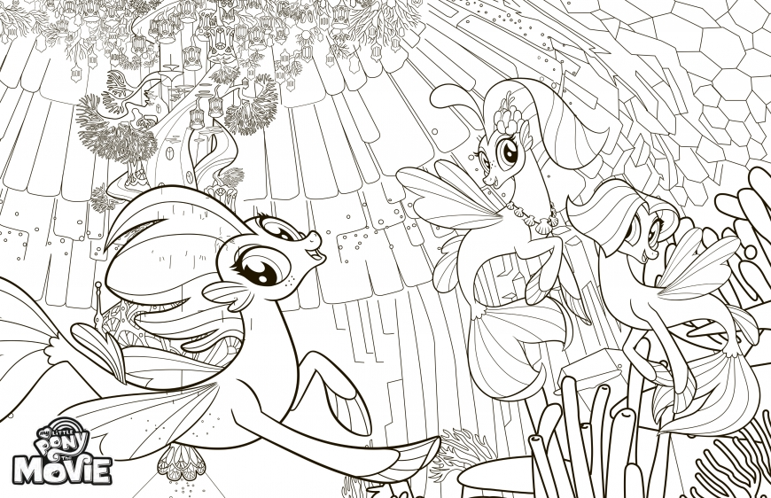 My Little Pony The Movie coloring page with seaponies and Princess Skystar