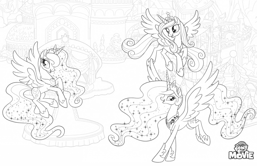 My Little Pony The Movie coloring page with princess ponies - Luna, Cadence, Celestia