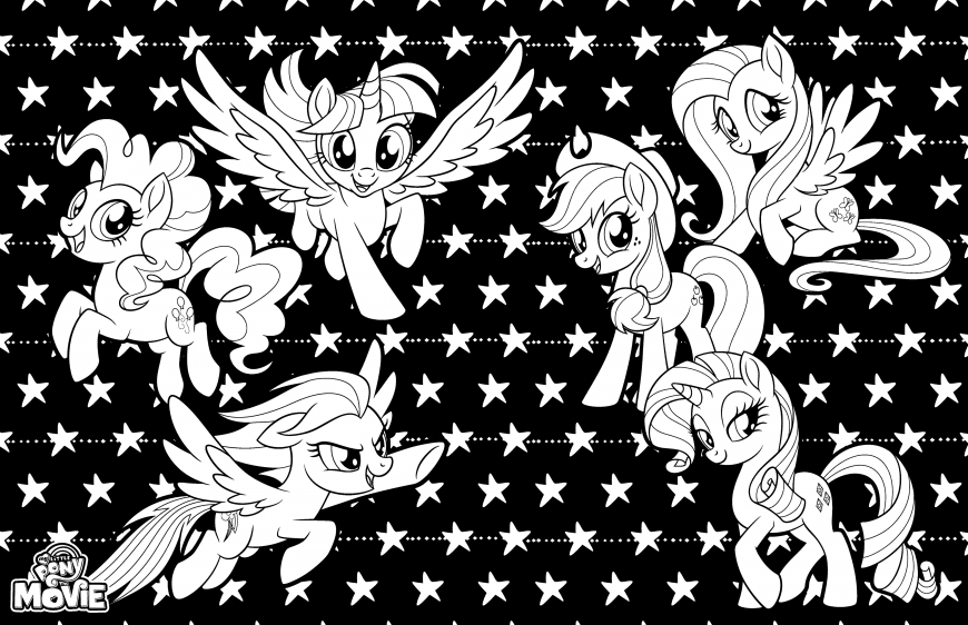 My Little Pony The Movie coloring page with ponies on dark background