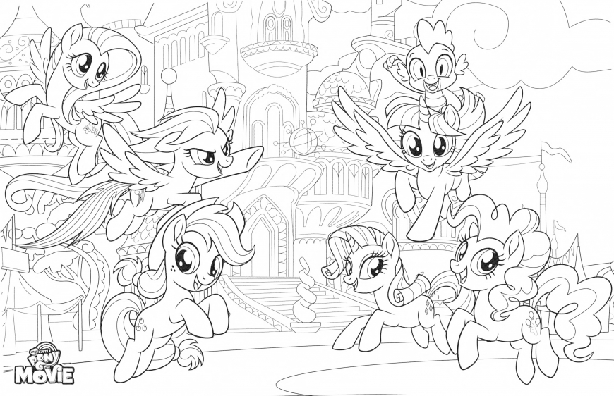 My Little Pony The Movie coloring page with mane six