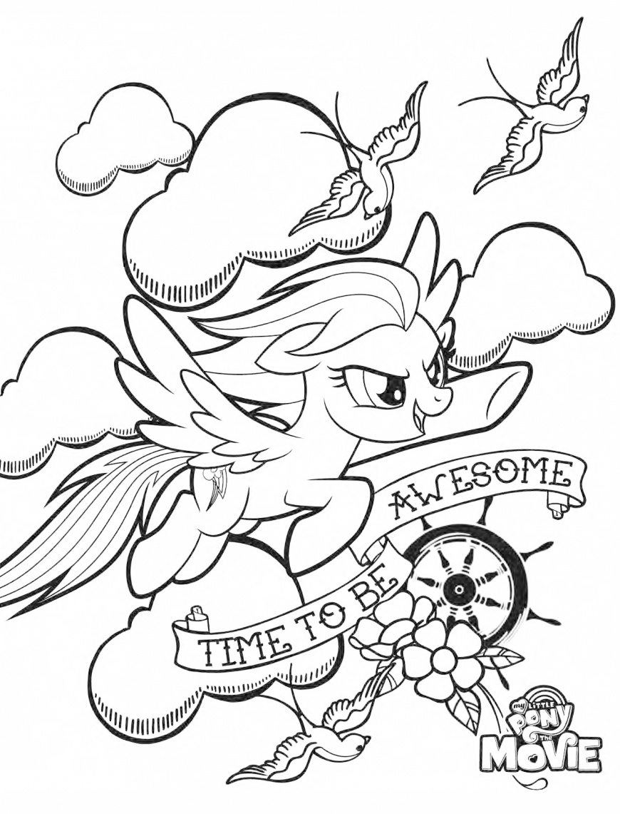 My Little Pony The Movie coloring page with Rainbow Dash