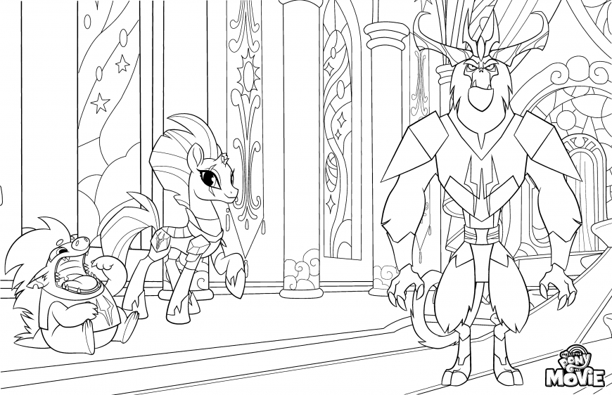 My Little Pony The Movie coloring page with Tempest Shadow, Grubber and king Storm