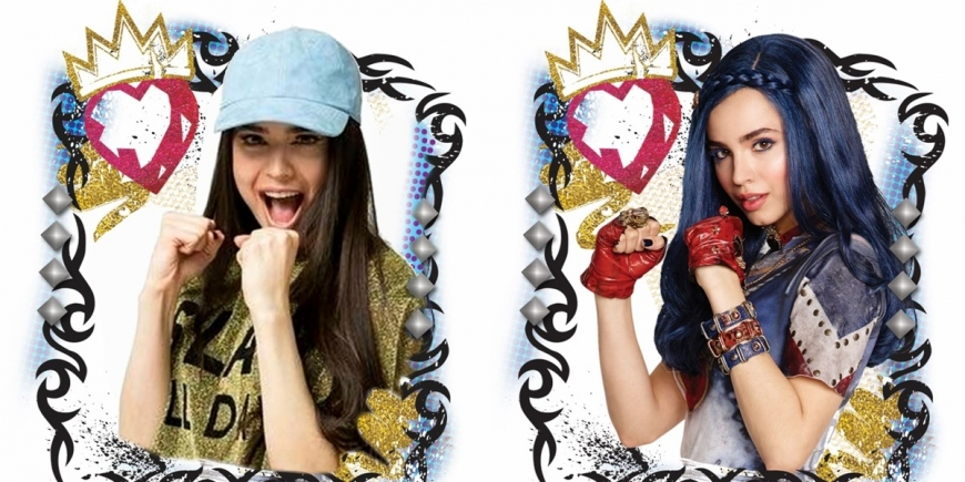 Sofia Carson and Dove Cameron in Descendants and in real life