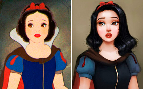The artist redrawn the heroines of famous cartoons, making them more realistic