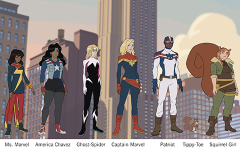 "Meet main characters from ""Marvel rising"""