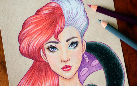 Artist combines faces of the Disney characters in one picture