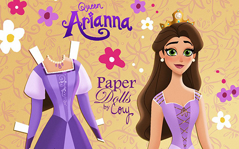 Paper doll of Queen Arianna of Corona - Rapunzel's mother