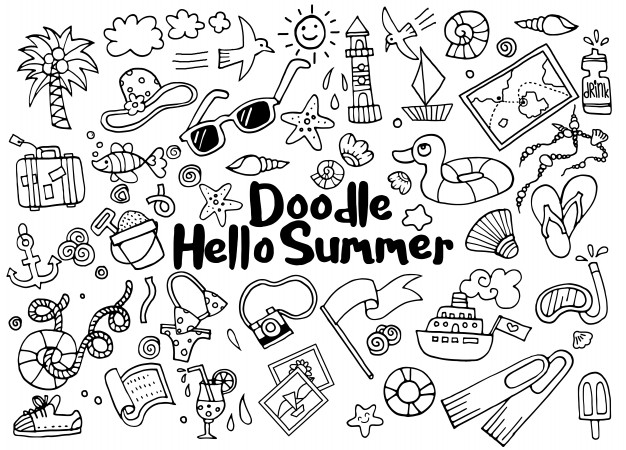 Summer doodle drawings for journal