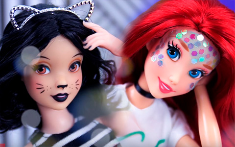 How to Make REMOVABLE Halloween Make Up for dolls - video DIY