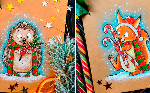 Super cute Christmas art with animals
