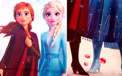 Full body picture of Anna and Elsa from Disney Frozen 2 movie