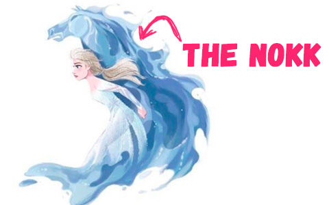 New character in Frozen 2 movie - the Nokk water spirit in horse form