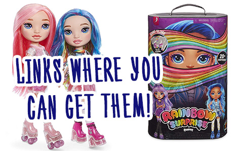 You can finally get Poopsie Rainbow Surprises dolls online -  Purple or Blue  and Rainbow or Pink!  They're on sale.
